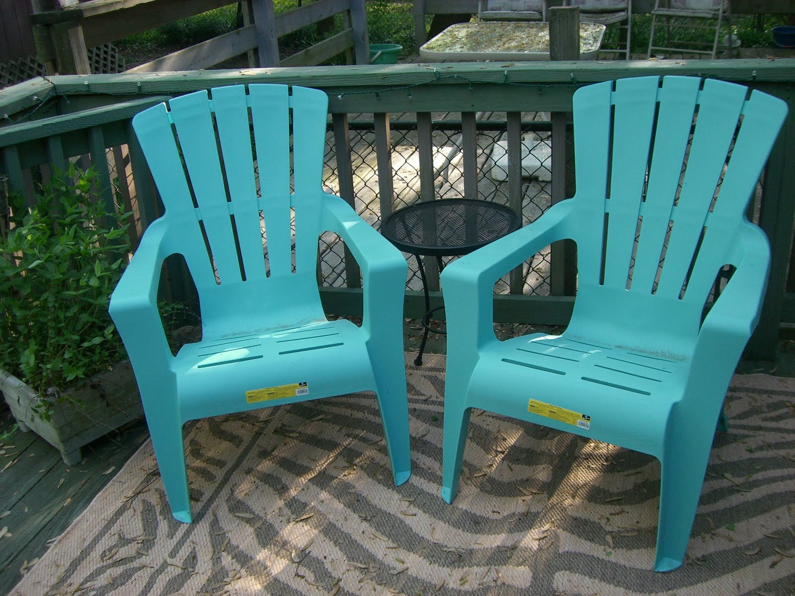 Aqua Adirondack Chairs Hair On Hide Chair My Mint Green House Outdoor Furniture Update