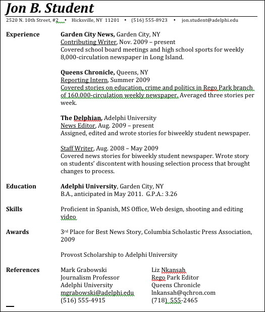 resume template expected graduation