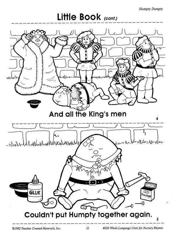 Angol feladatok, mondókák, színezők: Humpty Dumpty mini