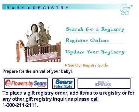 sears baby registry free gift