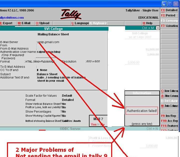 Solution of major problems for not sending E-mail in tally 9