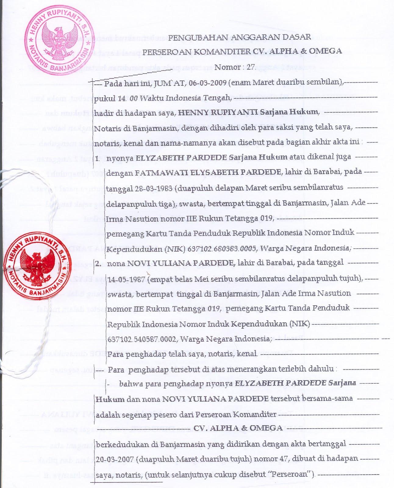 Perizinan Perusahaan Akta Notaris