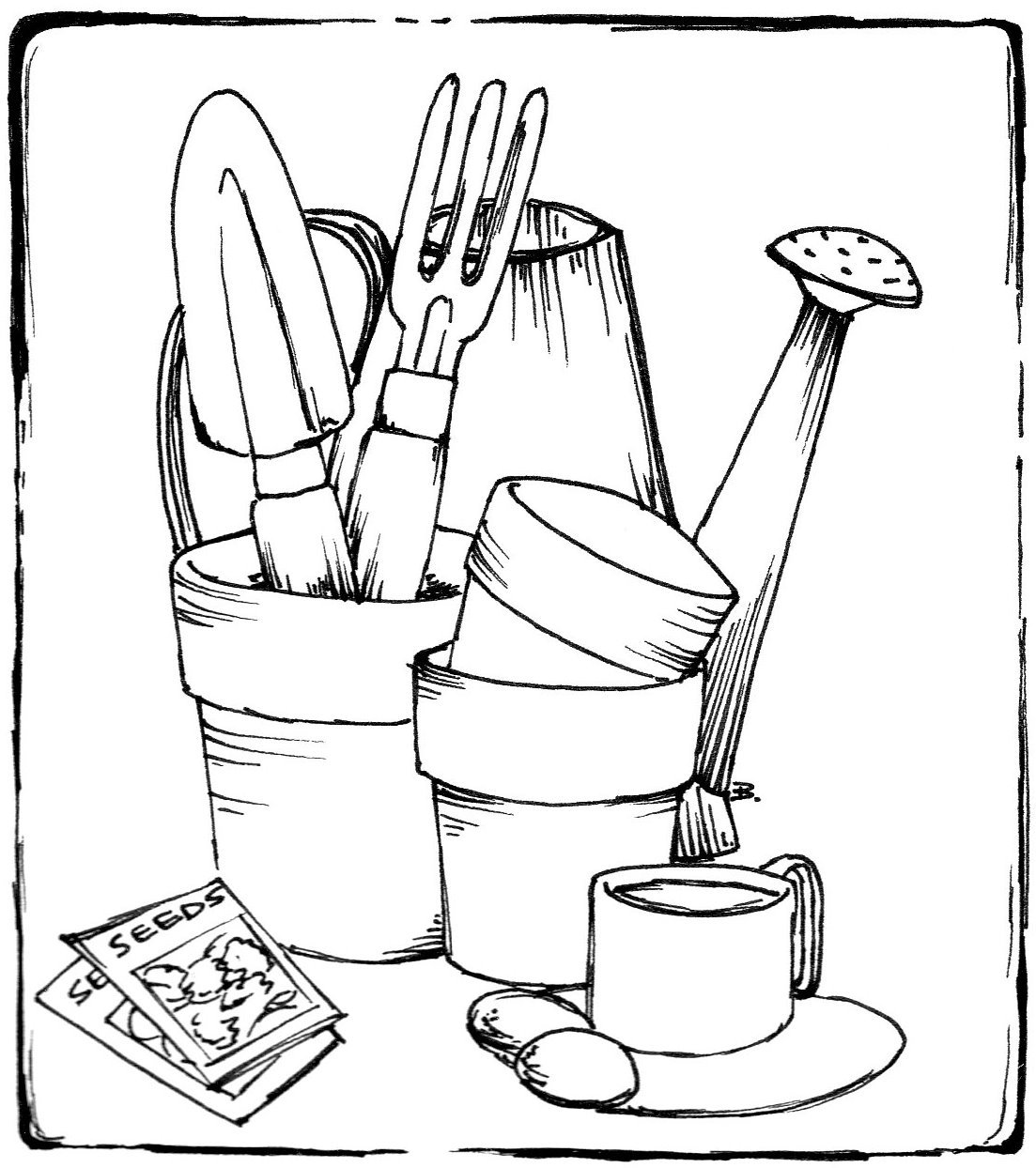 Gardening Tools Colouring Pages Sketch Coloring Page