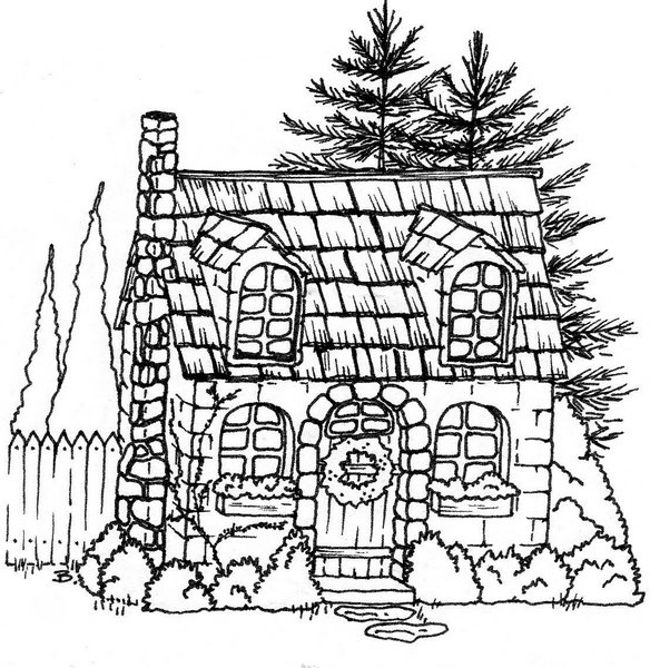cottage coloring pages - photo#24