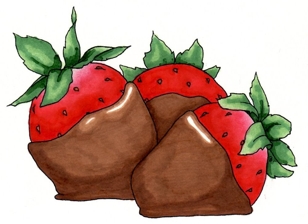 Chocolate Strawberries Drawing Drawing Art Ideas