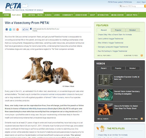 Life of an Army Wife: Win A Vasectomy From PETA!