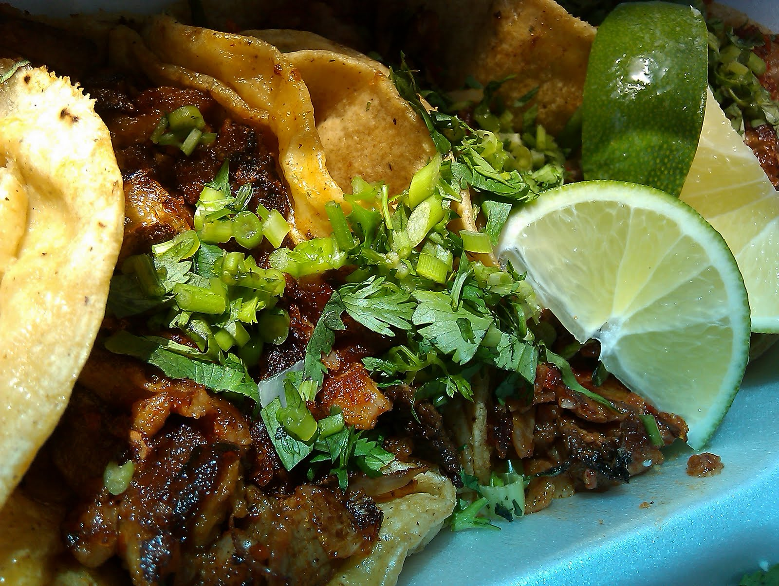 ... pork) tacos with cilantro and lime, refried beans, rice, water – $10