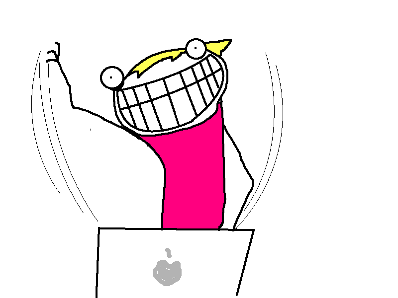 Cartoon of a woman in a pink dress typing frantically on a laptop