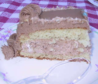 Chocolate Creamy Filling Yellow Cake Slice