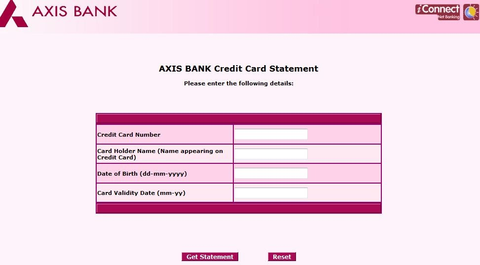 axis bank statement for credit card