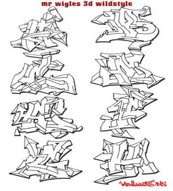 DESIGN GRAFFITI ALPHABET FONT WILDSTYLE WITH 3D ALPHABETS