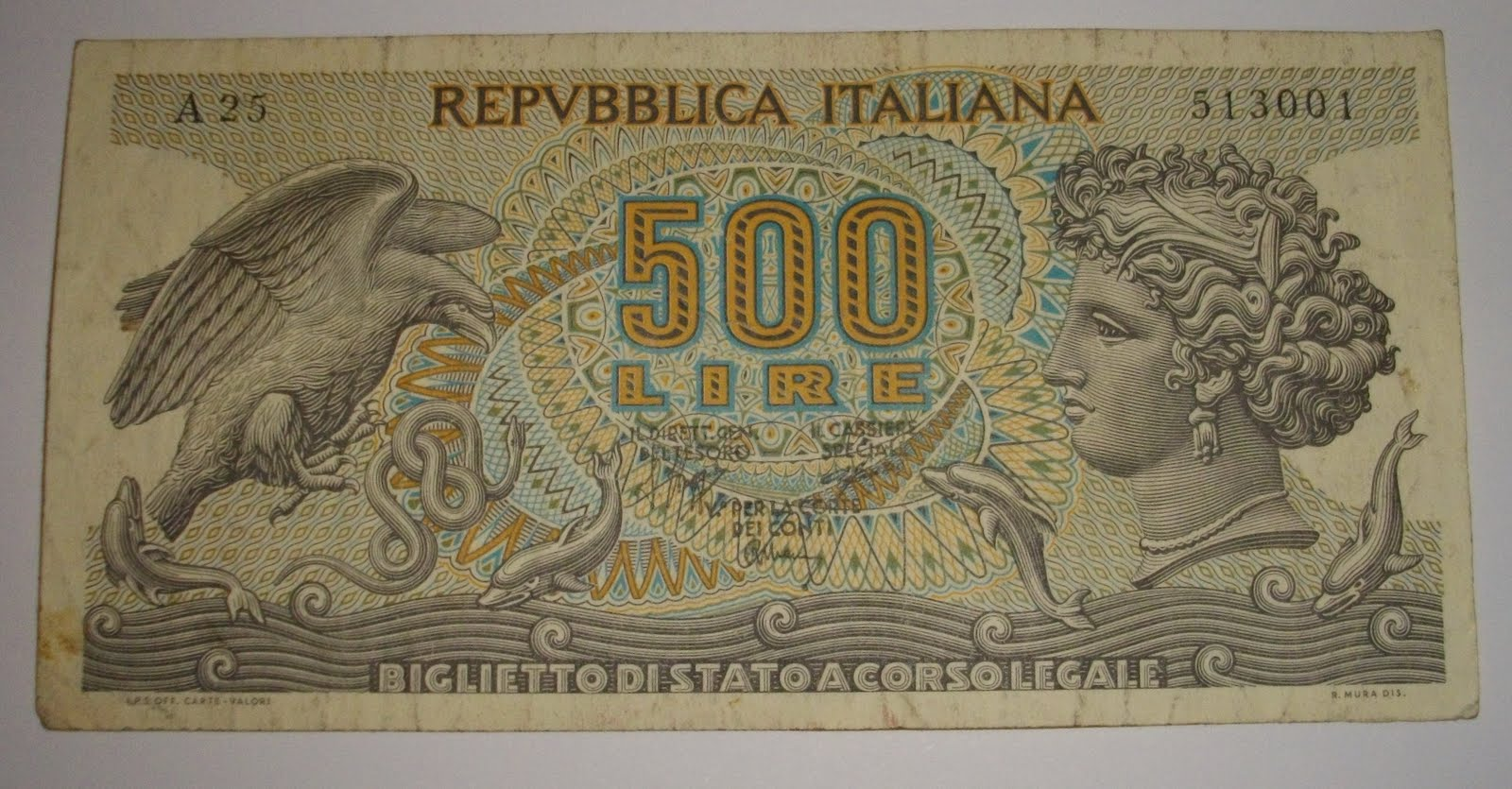 Indonesia Collectors Antique Repvbblica Italiana 500 Lire
