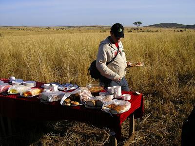 Breakfast in bush Masai Mara Kenya