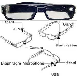 063674a41 Óculos espião com filmadora e câmera escondida