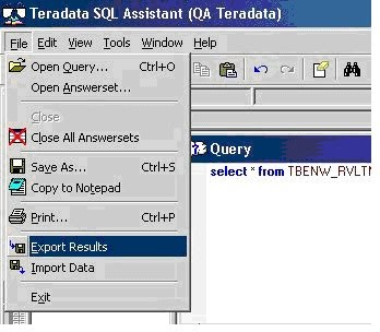 Teradata Help: Export /Import using Teradata SQL assistant