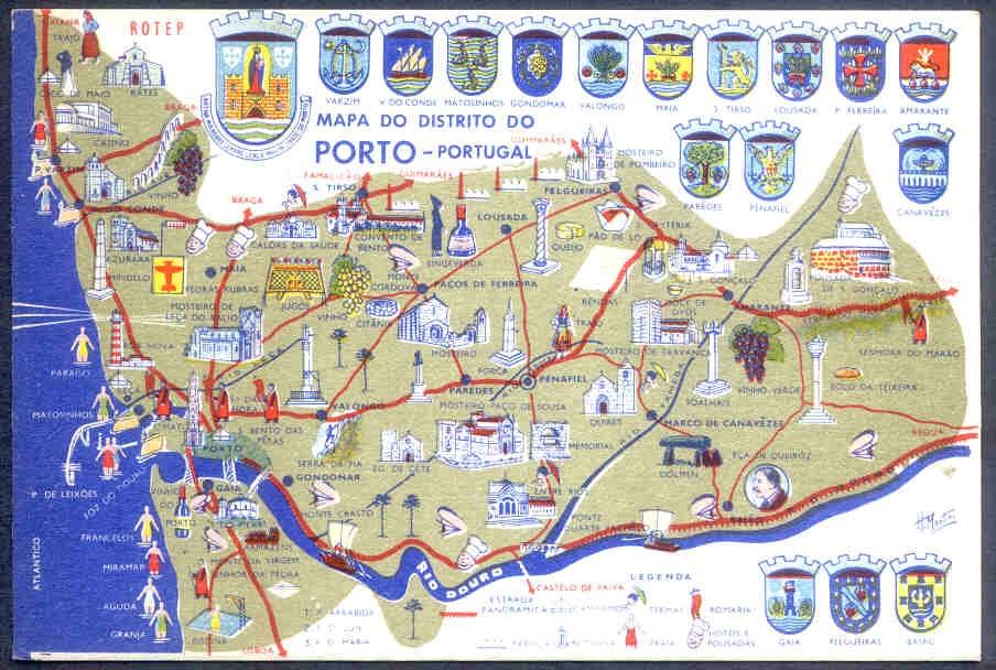 mapa do porto pdf Clube de Coleccionadores de Gaia: Postal Turístico dos anos 50  mapa do porto pdf