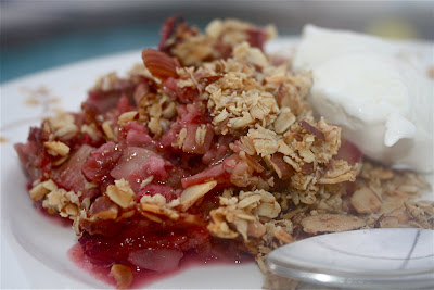 Raspberry and Rhubarb Crumble