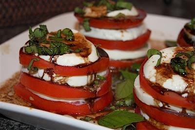 Tomato, Mozzarella and Basil Stacks