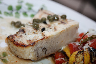 Grilled Rosemary Swordfish with Capers