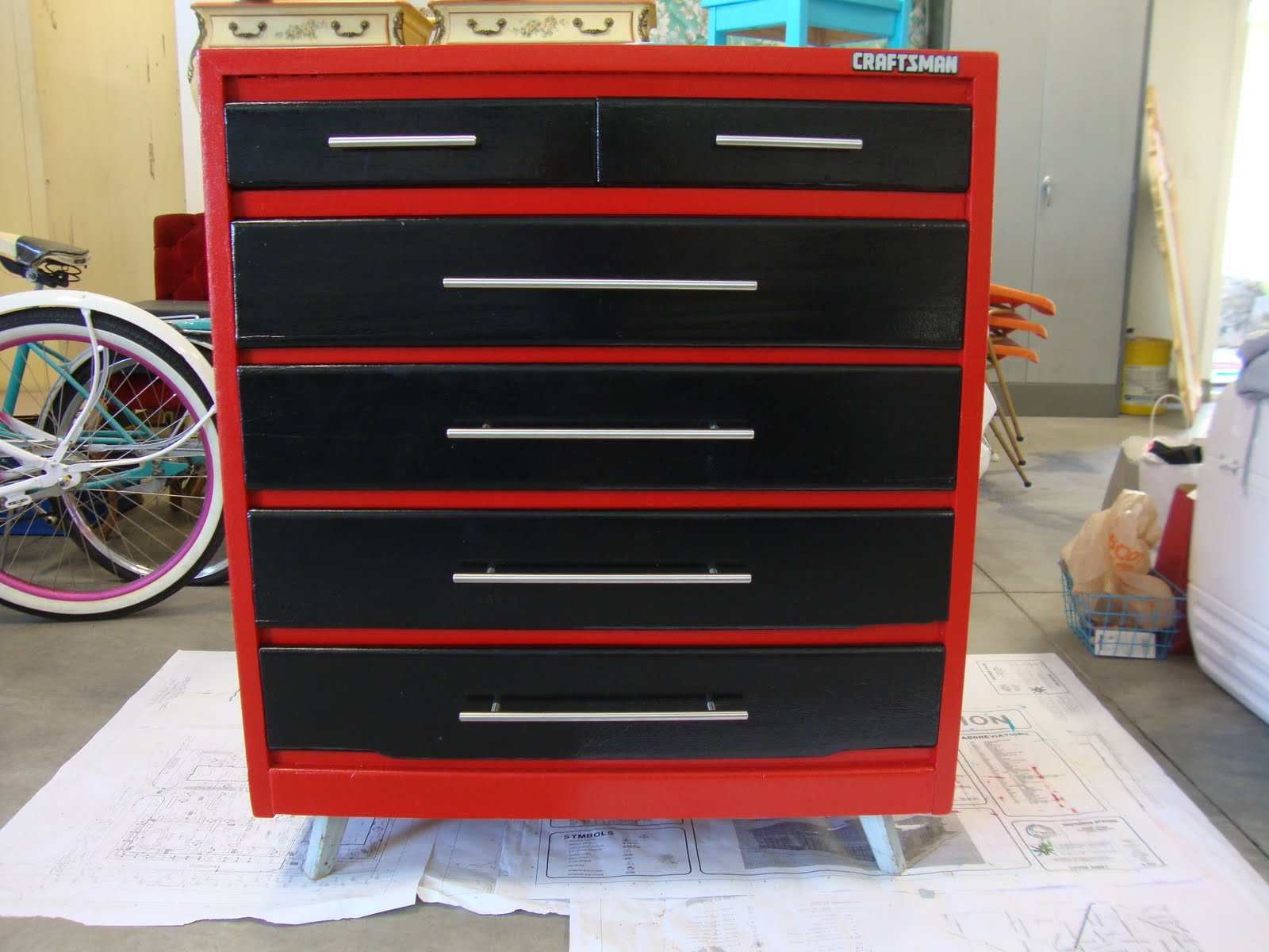 Tool Chest Dresser Makeover: Darling Collections: Tool Box Dresser Complete
