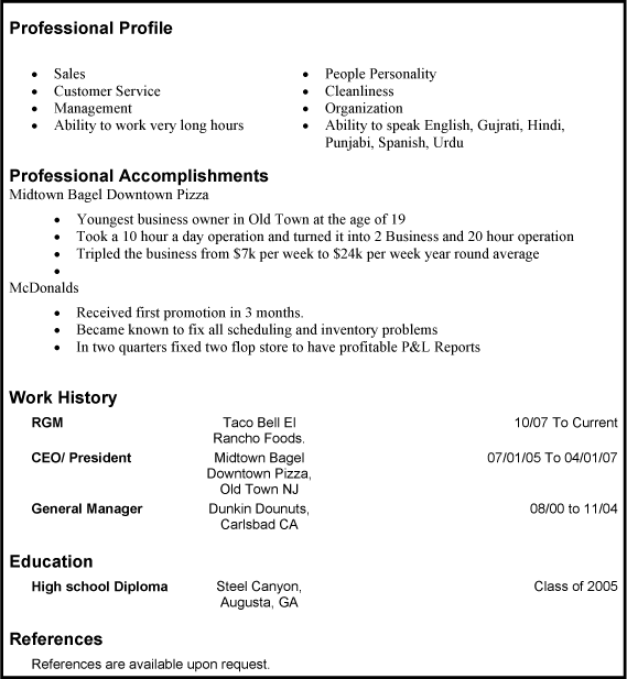 Resume With Profile Sample. Resume Sample Resume Formats With