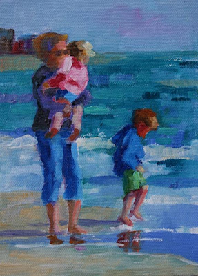 OIL PAINTING OF MOTHER AND TWO CHILDREN WALKING THE BEACH SIMPLE JOYS SOLD