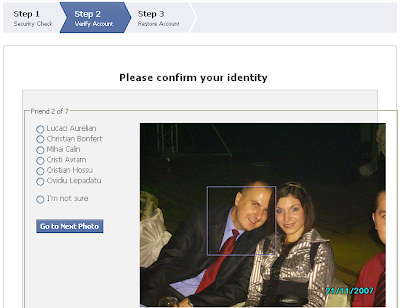 Facebook verification by recognizing friends