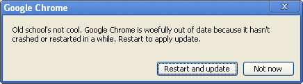 Chrome new update dialog