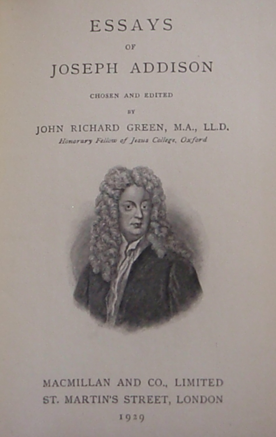 Joseph addison essays analysis