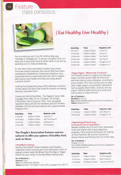 NutriHub's Workshops featured in NTUC Lifestyle Magazine - Oct 2010 Issue