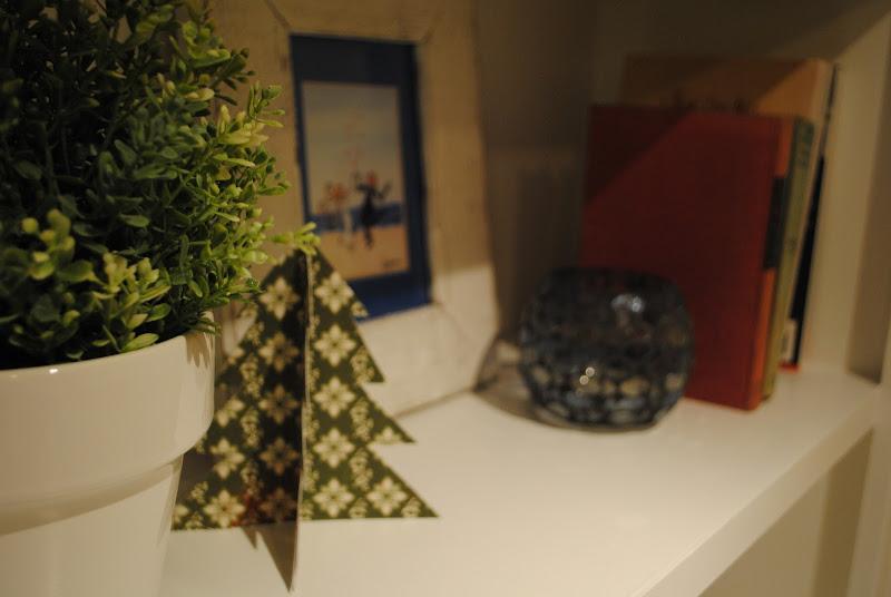 Folded Chrismas trees on display
