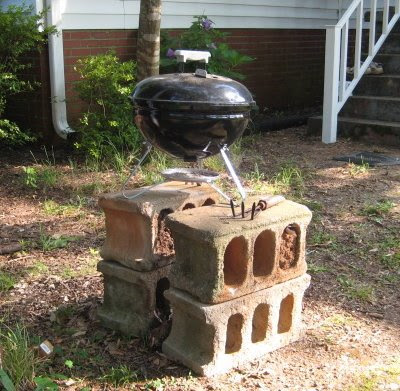 The charcoal grill - our favorite way to cook.