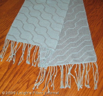 Finished S&W beaded fringe scarf
