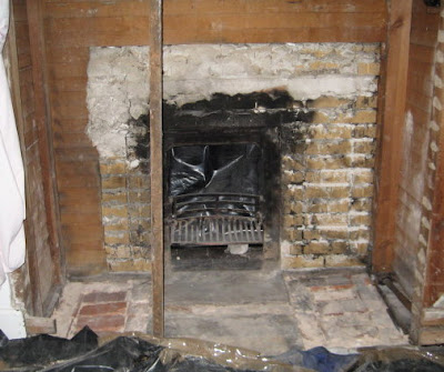 All fireplace bricks have been removed