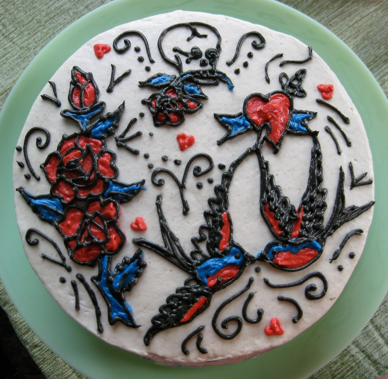 Stuffed Cakes: Retro Tattoo Cake & M&M Cupcakes