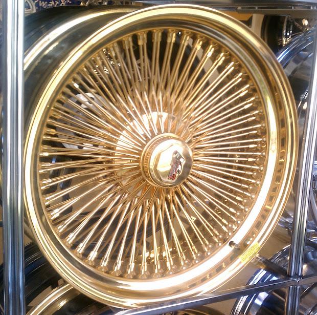 "A2i 20"" Dayton Gold Wire Wheels 24k 5x4.75 & 5x5"
