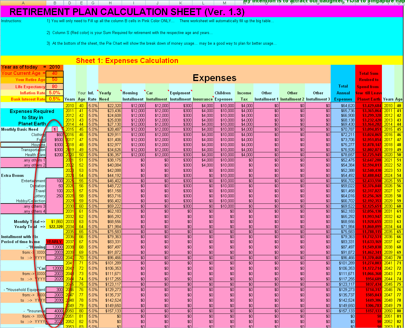 Kh Tang S Blog Personal Finance 2 Retirement Fund Excel Tool