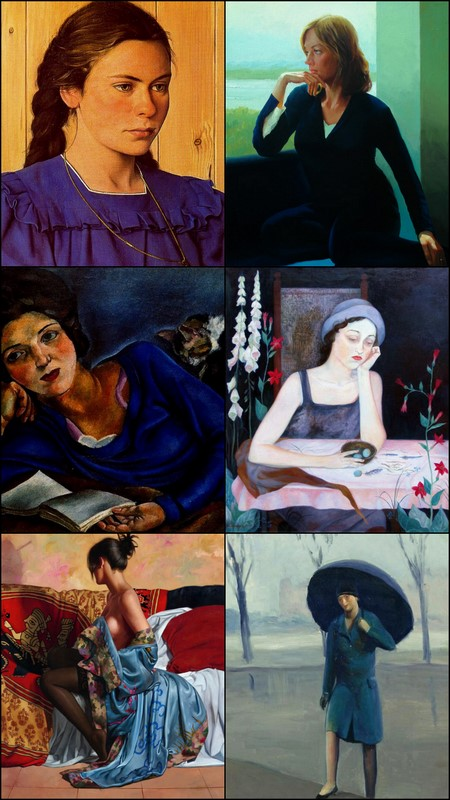 Woman in blue,  paintings