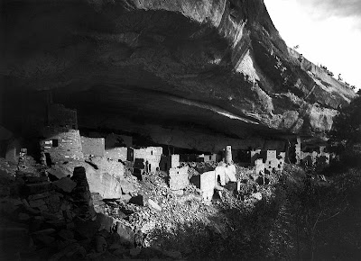 The ruins of the Cliff Palace at Mesa Verde as photographed by Gustaf Nordenskiöld in 1891.