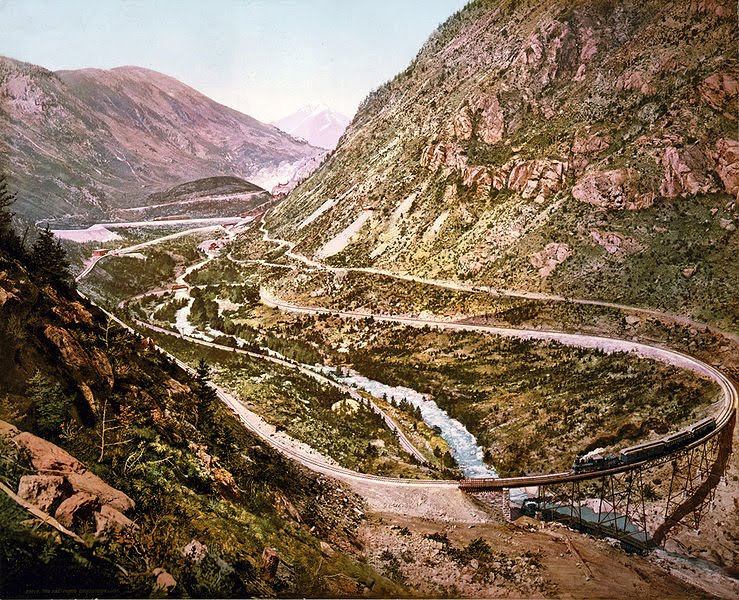 The Georgetown Loop of the Colorado Central Railroad as photographed by William H. Jackson in 1899.