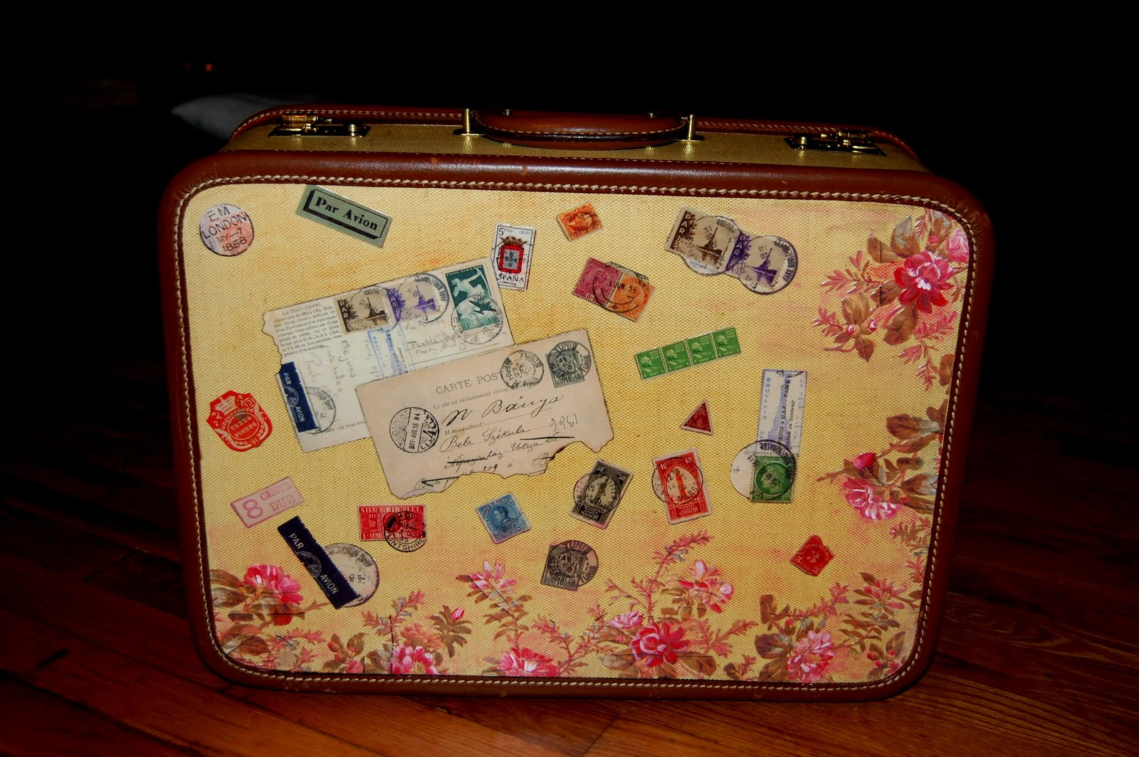 My Art Glass World Vintage Suitcase With Custom Decoration