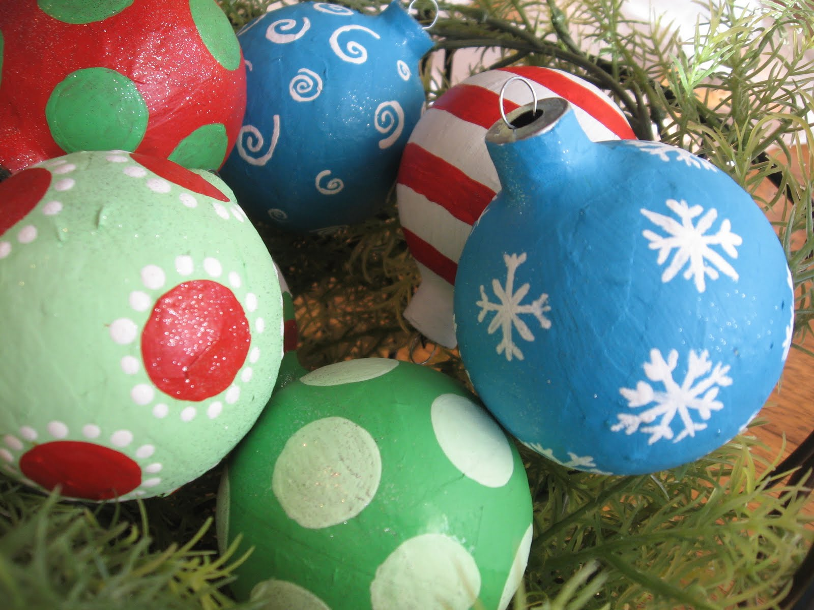Paper christmas ornaments for toddlers - Chrismas Paper Mache Ornaments Blue Cricket Design