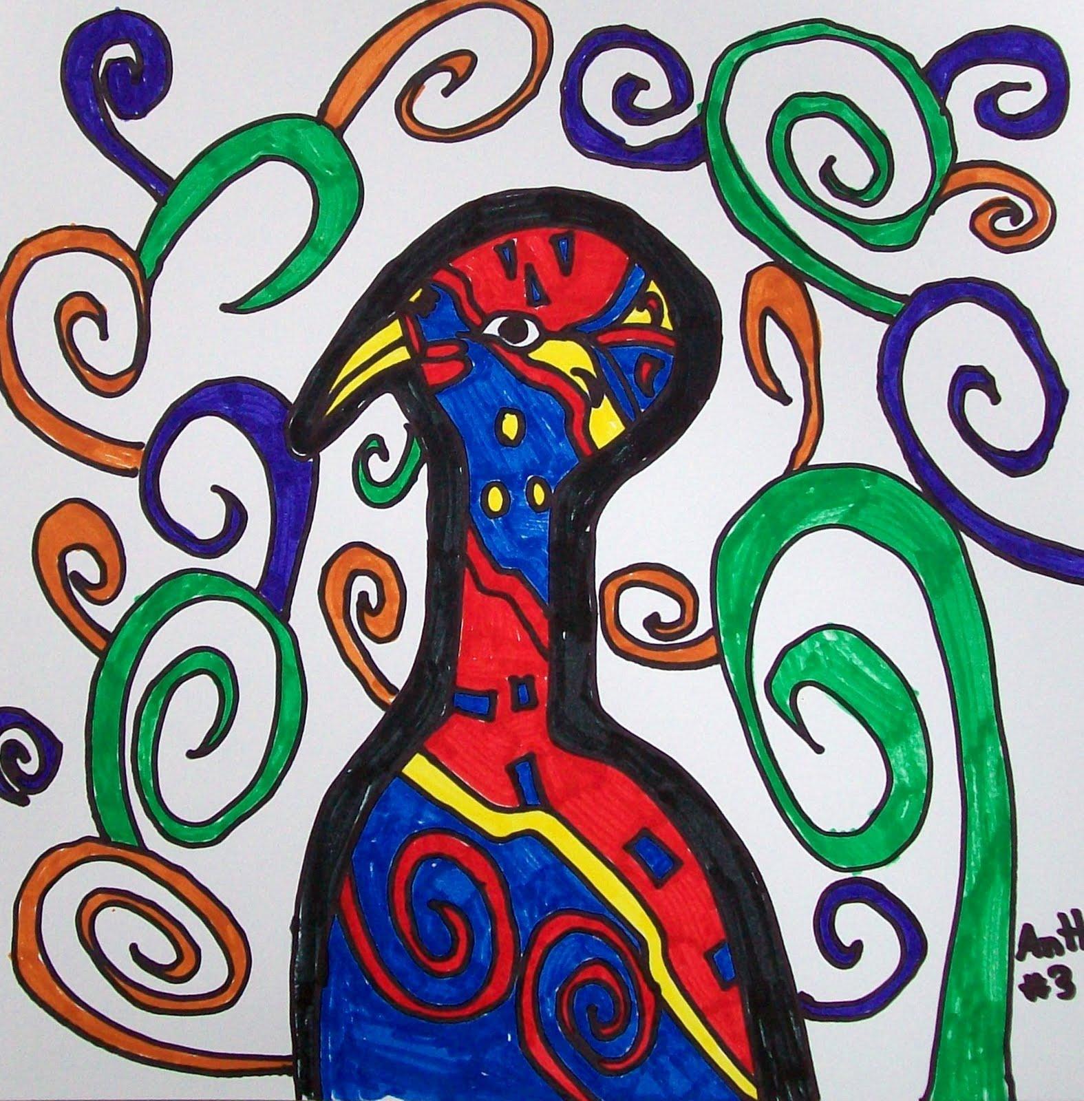 art dish abstract birds