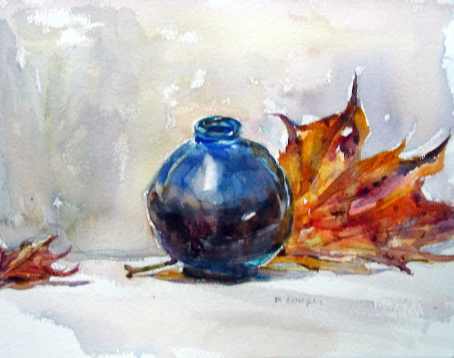 Blue Pot with Autumn Leaves