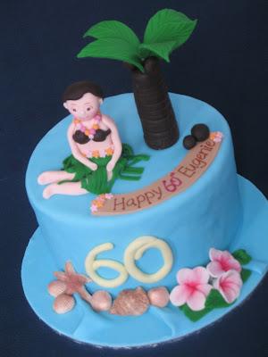 Blissfully Sweet Hawaiian Luau 60th Birthday Cake