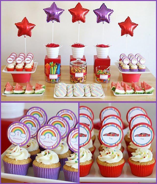 Celebrando con estilo fiesta infantil arcoiris y carritos - Cumple 2 anos decoracion ...