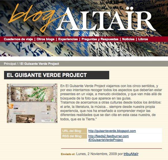 El Guisante Verde Project en el Blog de Altair Revista de Viajes