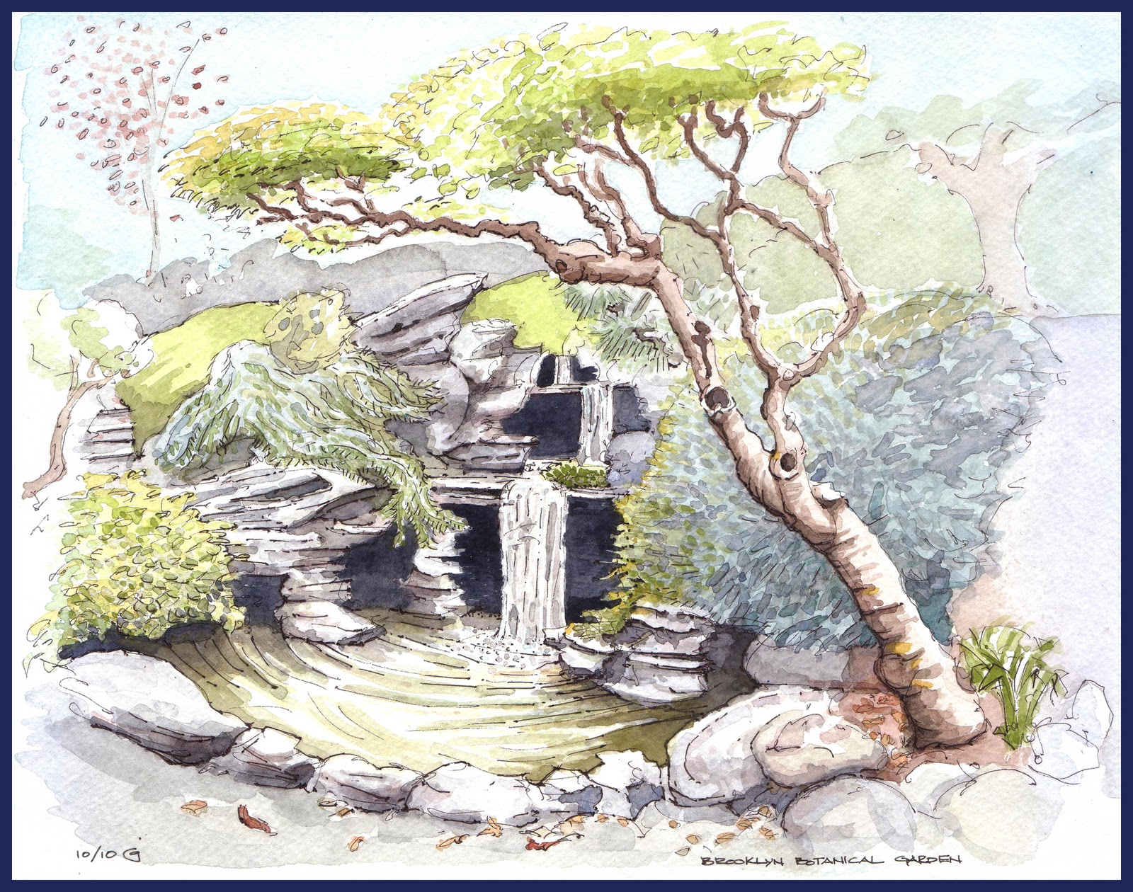 Park Slope Sketch: The Falls at the Japanese Garden
