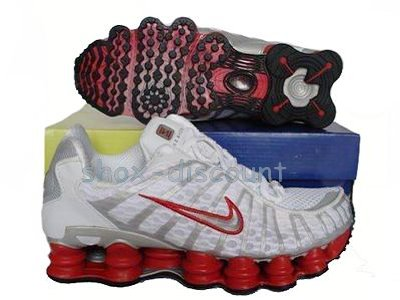 promo code 80825 1b139 Men s Nike Shox TL1 Shoes in White and Red