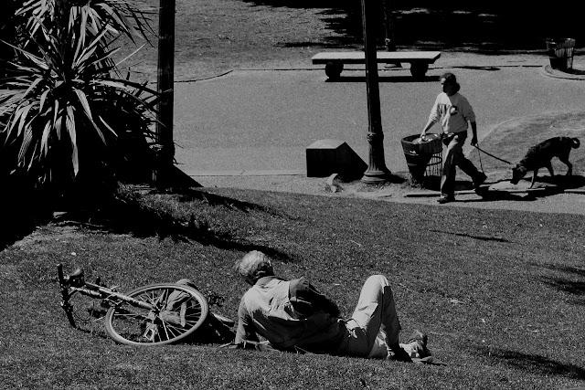 Ciudad.Persona descansando en el parque